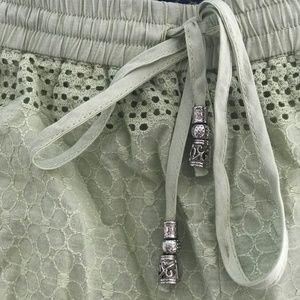 Blue Rain Beaded-Tie Shorts